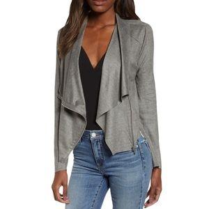 NWT Blank NYC Draped Vegan Suede Grey Zip Jacket